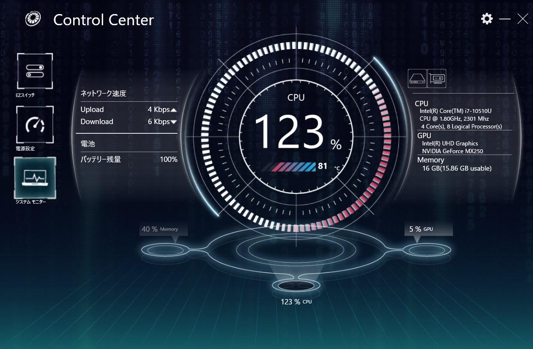 CPUの稼働率