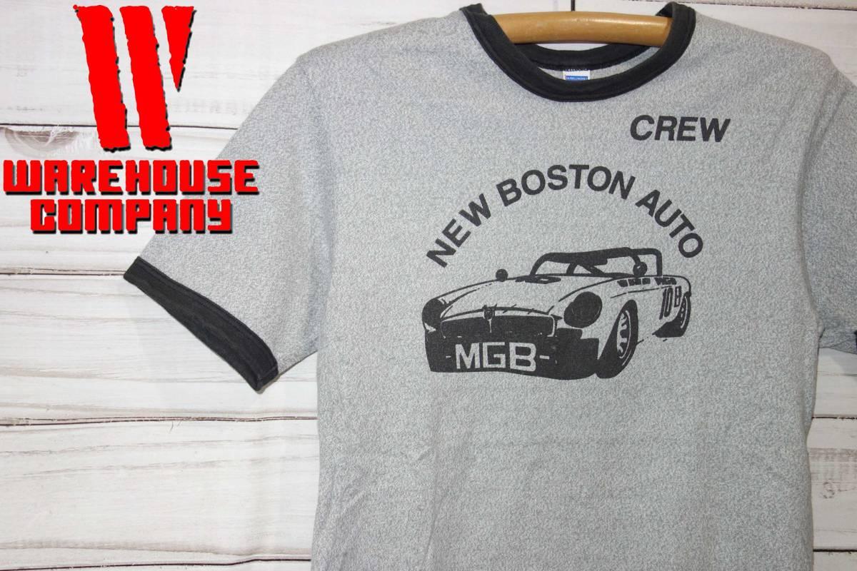 お買取商品ウエアハウスWAREHOUSEダブルワークスDUBBLEWORKSリンガーTシャツNEW BOSTON AUTOグレー黒M