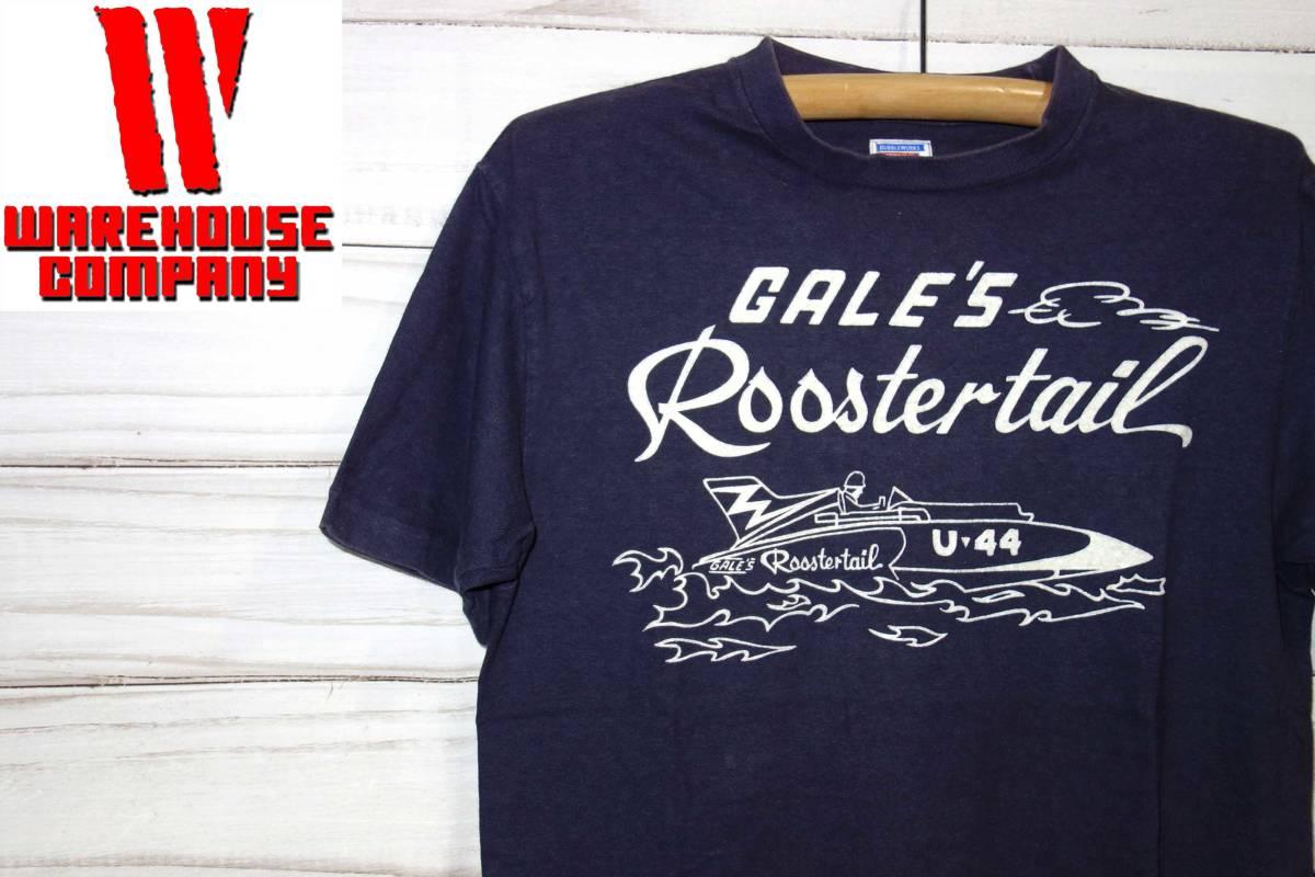 お買取商品ウエアハウスWAREHOUSEダブルワークスDUBBLEWORKSTシャツGALE'S Roostertail RACING TEAM紺M
