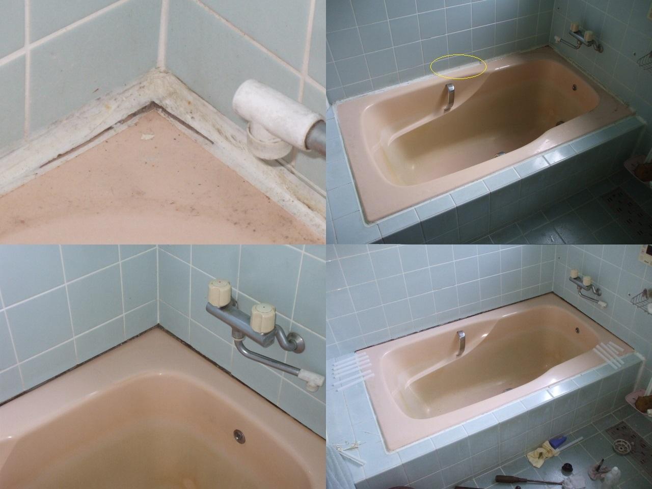 本日は 浴槽の周りの傷みを 半分だけ修繕しました!1