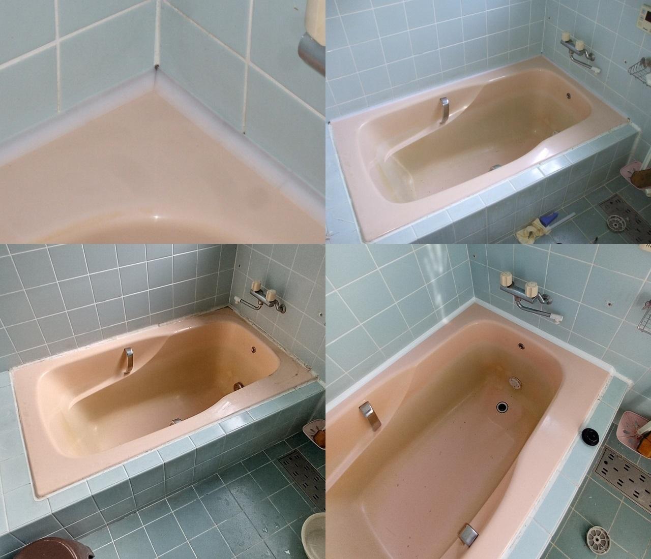 本日は 浴槽の周りの傷みを 半分だけ修繕しました!2
