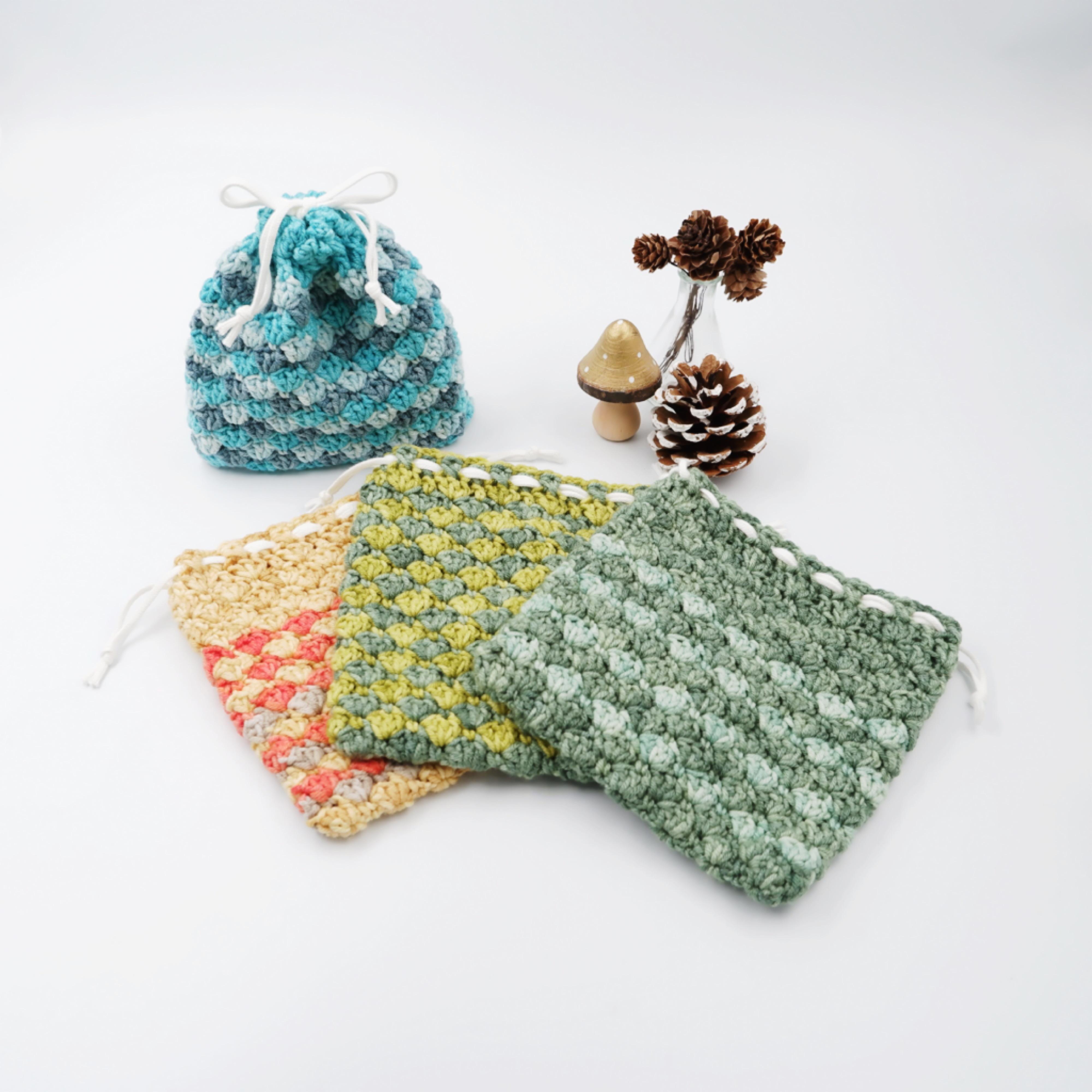 HanahanD 手編み雑貨 巾着 ウール 冬小物