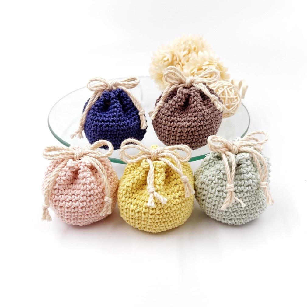 手編み雑貨 HanahanD 巾着 手編み コットン
