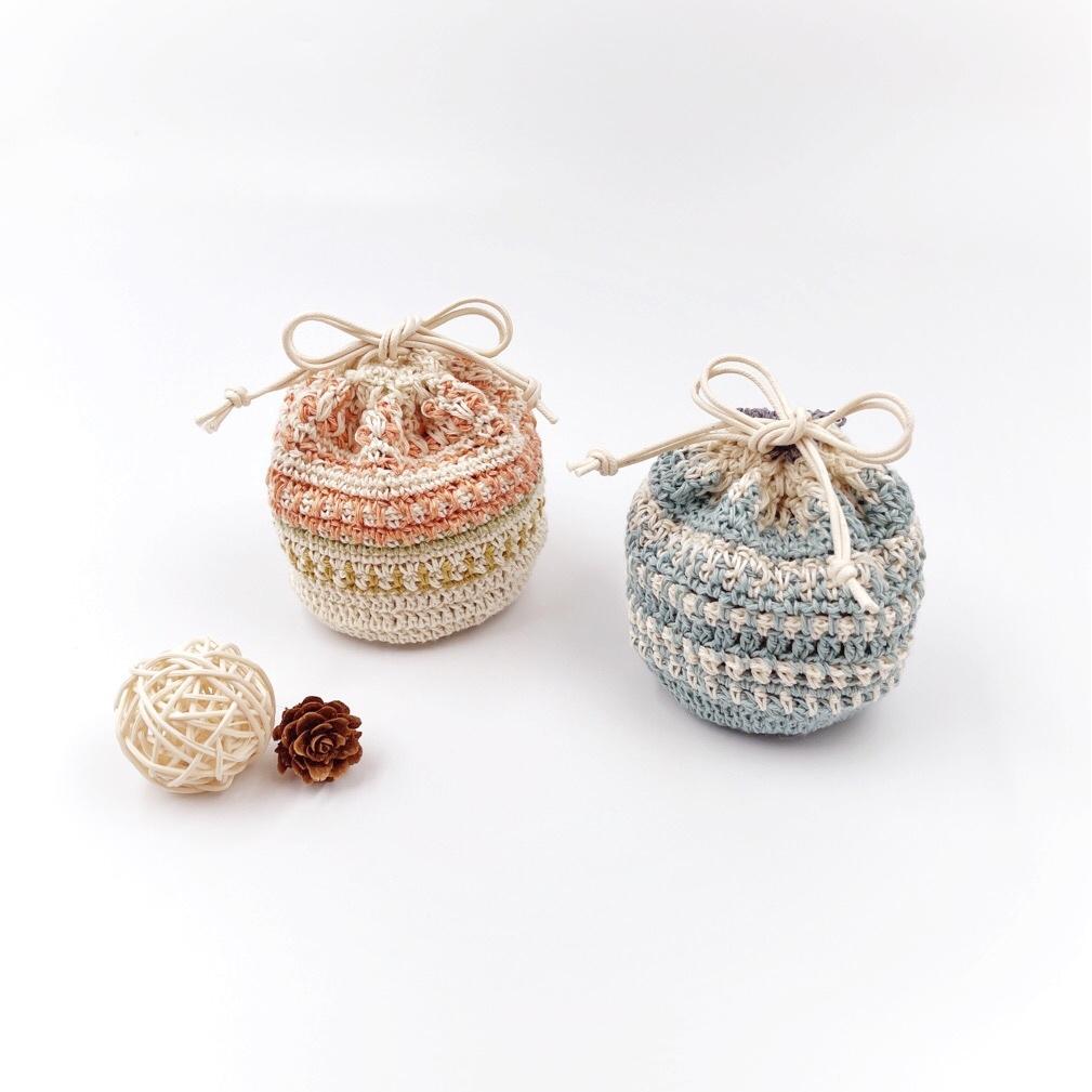 HanahanD 手編み雑貨 リネン 巾着 一点もの 麻 春夏