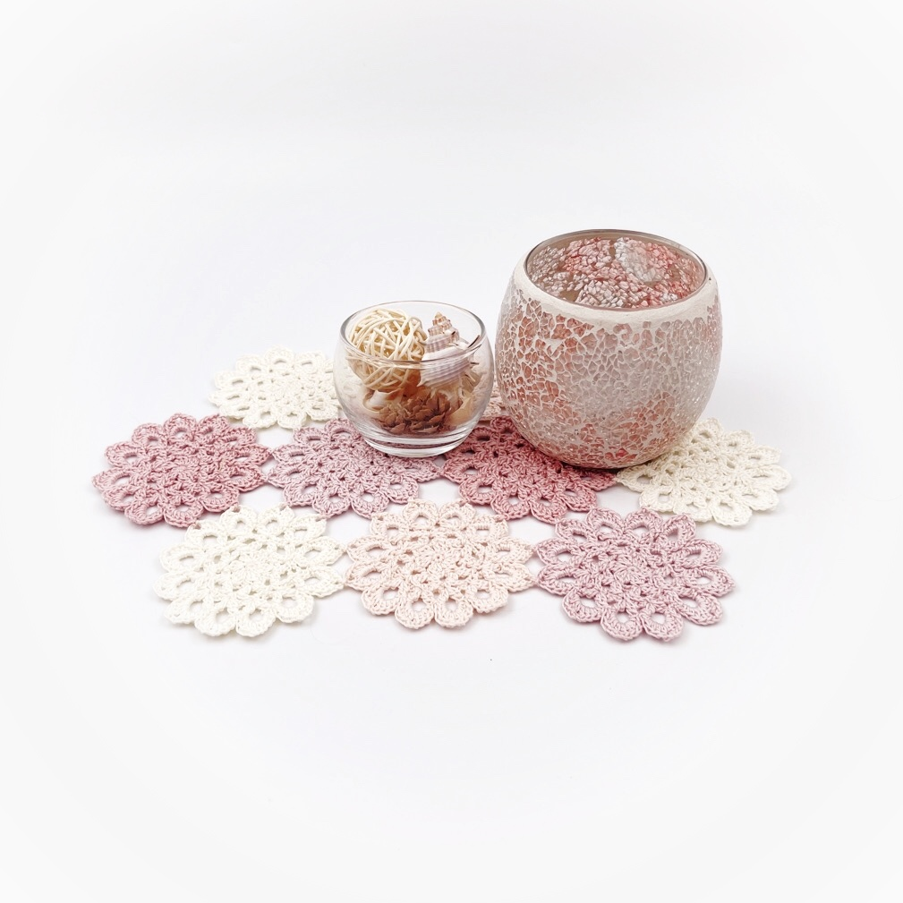 手編み雑貨 HanahanD レース モチーフ繋ぎ 花モチーフ ドイリー 敷物 テーブルセンター