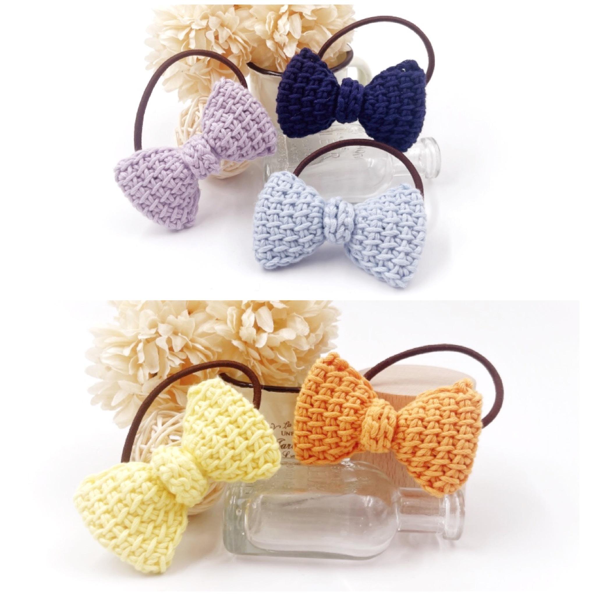 手編み雑貨 HanahanD リボン コットン ヘアゴム