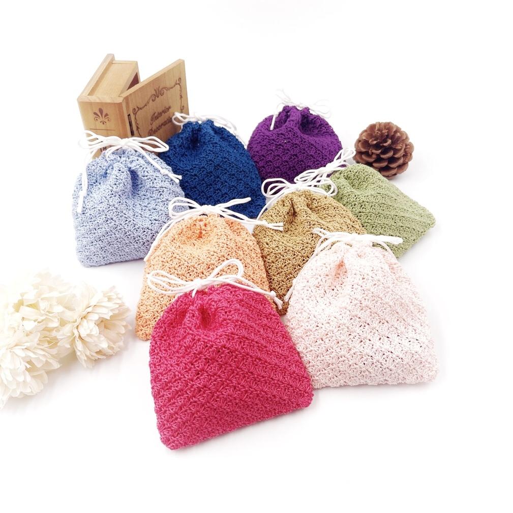 手編み雑貨 HanahanD 巾着 手編み レース