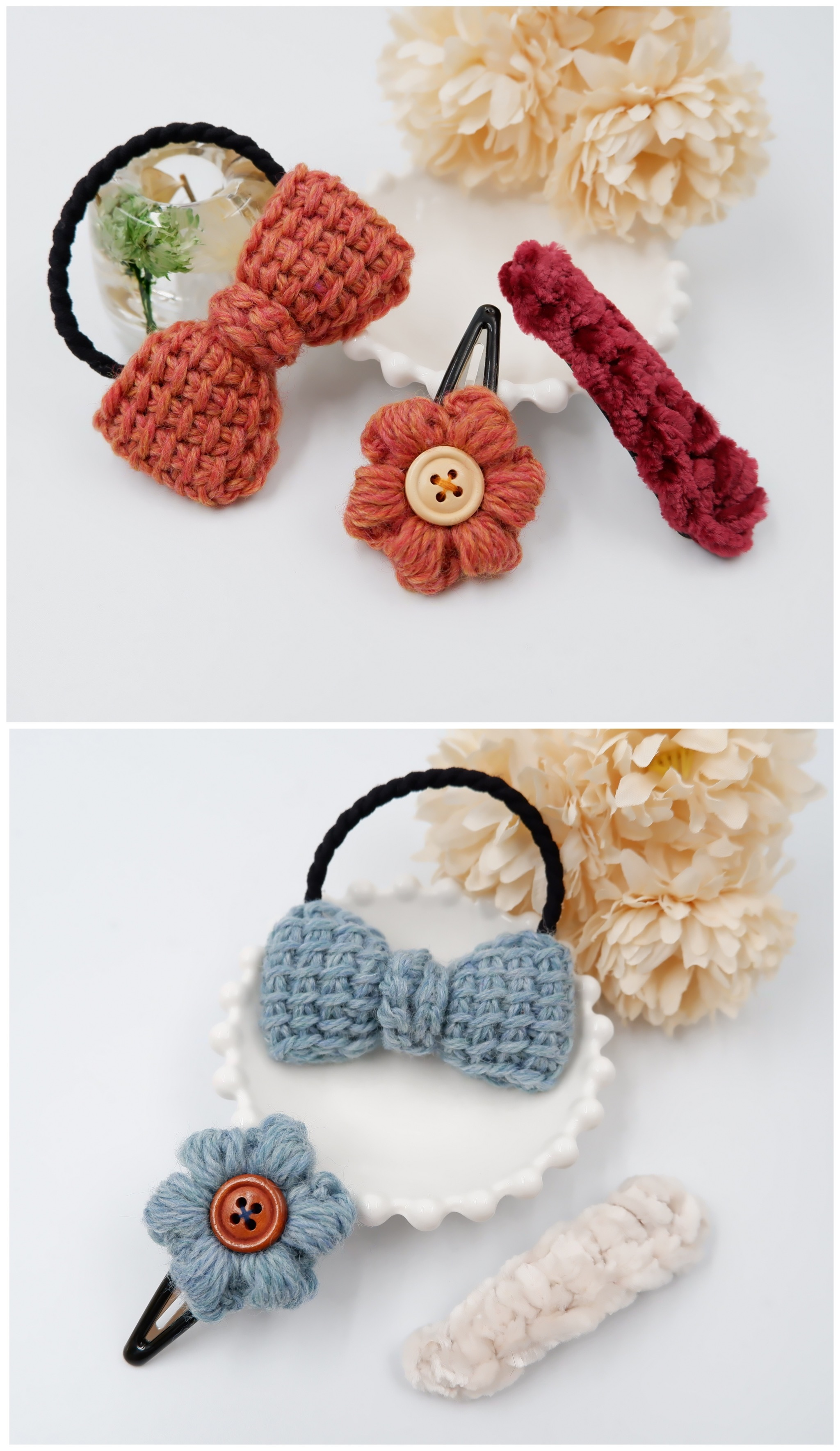 HanahanD 手編み雑貨 リボン 花 ヘアゴム パッチン 福袋
