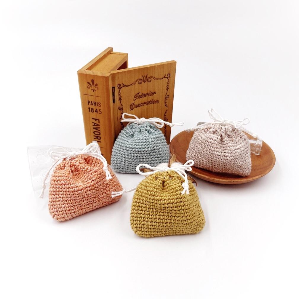 手編み雑貨 HanahanD 巾着 巾着袋 リネン 手編み