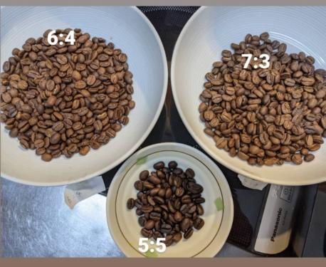 20210311草津温泉カフェ花栞(はなしおり)コーヒー豆自家焙煎、ブレンド割合違い