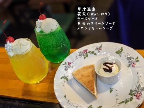 20210321草津温泉カフェ花栞(はなしおり)チーズケーキ、月光のクリームソーダ、メロンクリームソーダ
