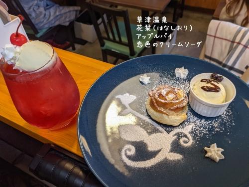 20210404草津温泉カフェ花栞(はなしおり)アップルパイ、恋色のクリームソーダ