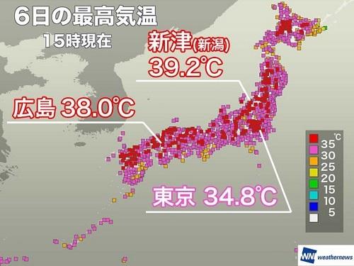 2021年8月6日気温 広島市38度
