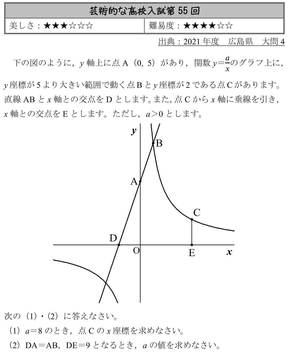 2021 広島県 高校入試 過去問 数学 反比例 1次関数 良問 難問 解説