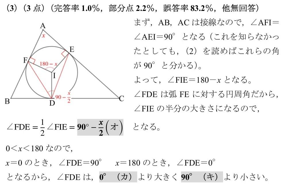 2021 広島県 高校入試 数学 過去問 解説 大問6 平面図形 内接円