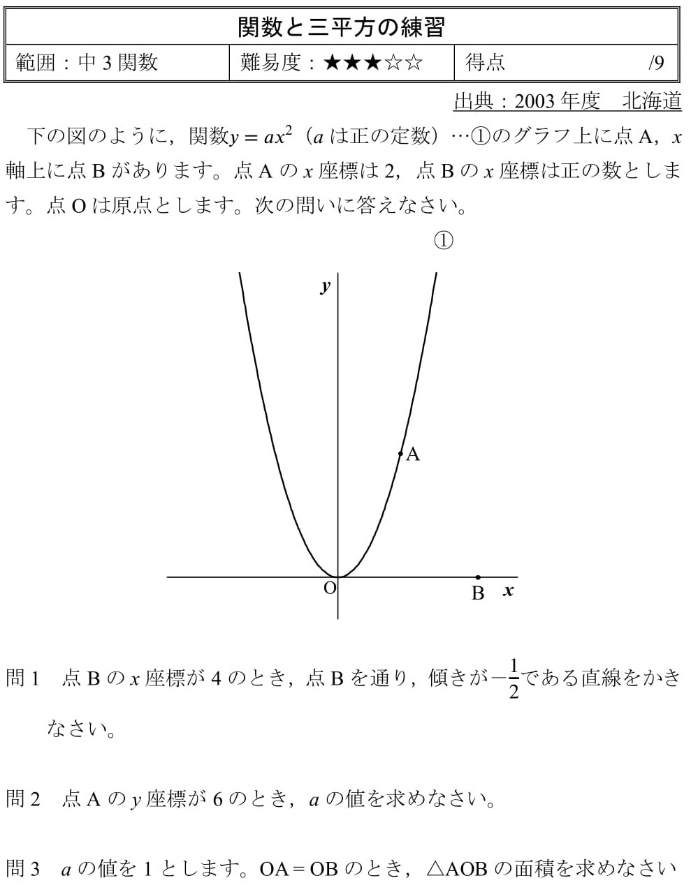 2003 北海道 高校入試 関数