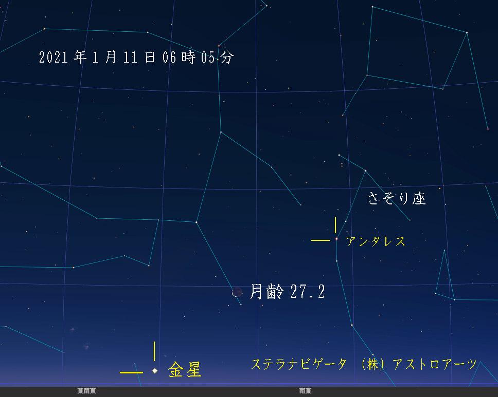 星図 2021年1月11日 午前06時05分 西脇市