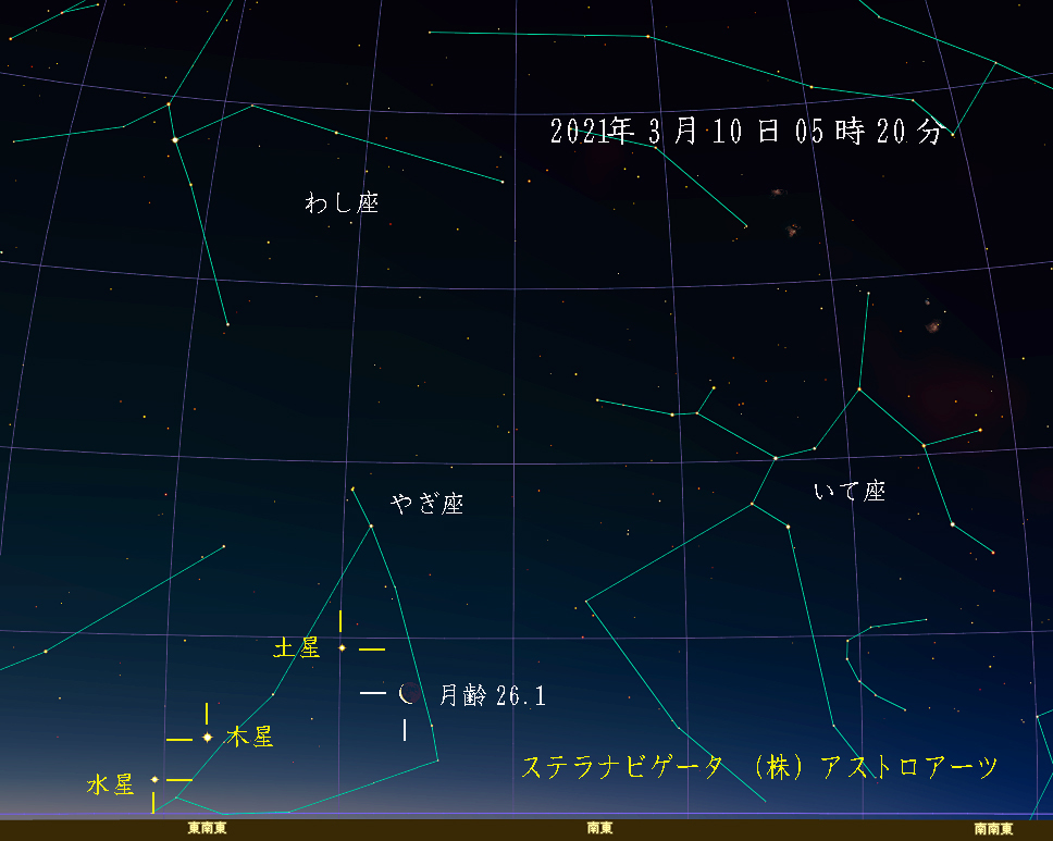 星図 2021年3月10日 午前5時20分