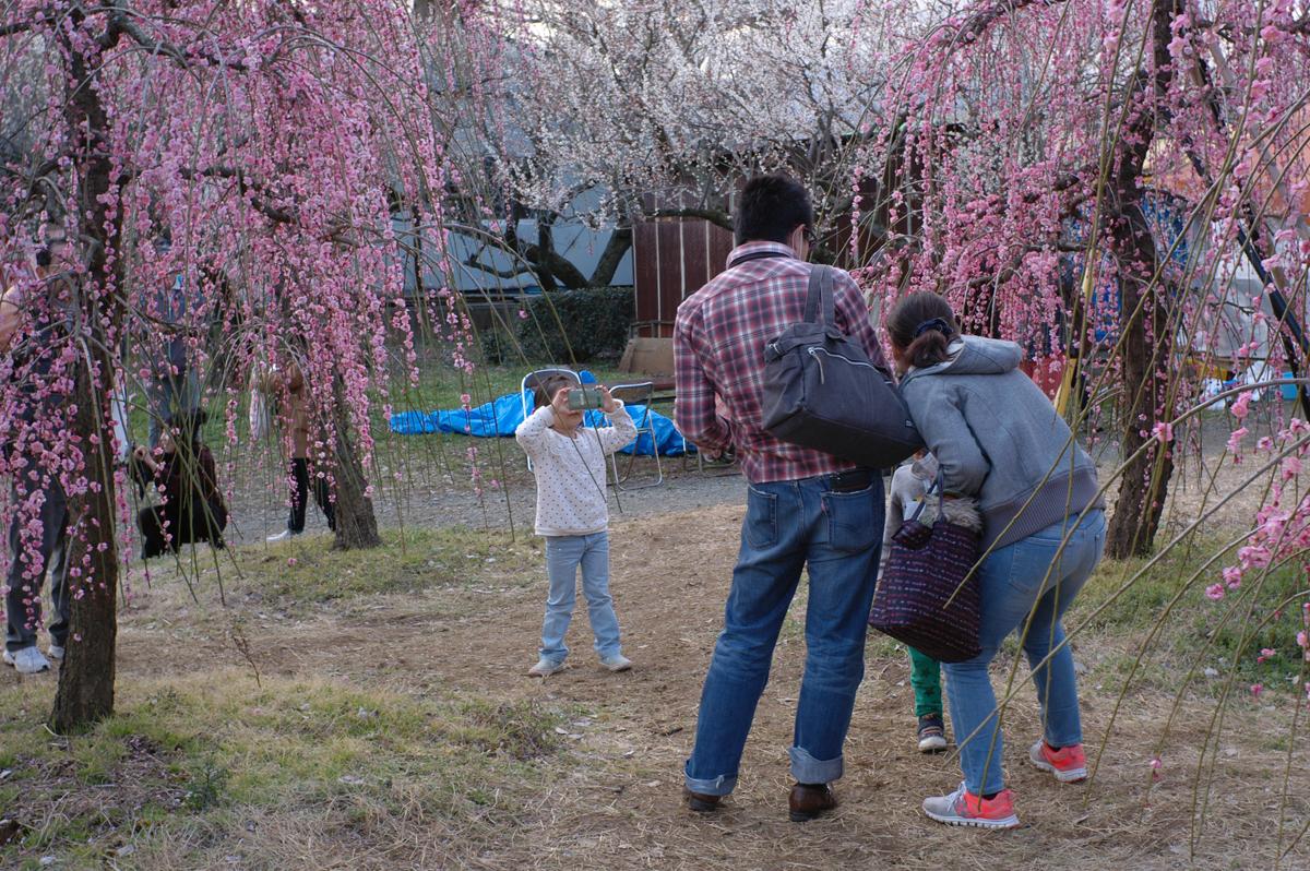 曽我梅林で記念写真を撮る家族連れ