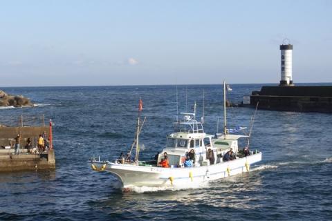 小田原漁港に帰港する釣り船