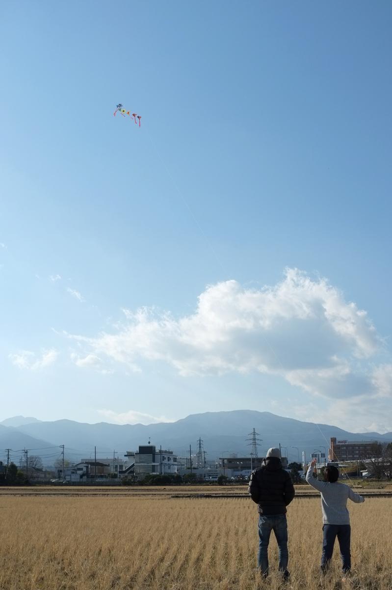 凧揚げをする親子