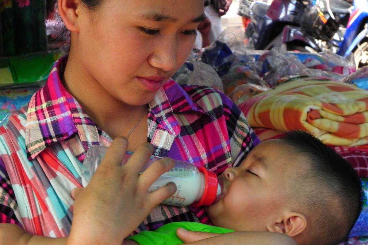 ミャンマースナップ市場の親子