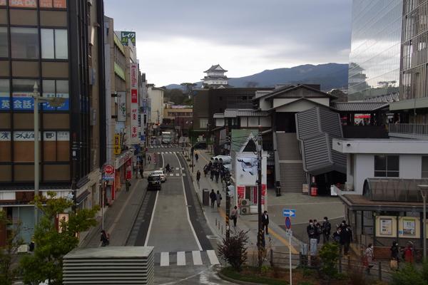 小田原駅前からお城通りを望む