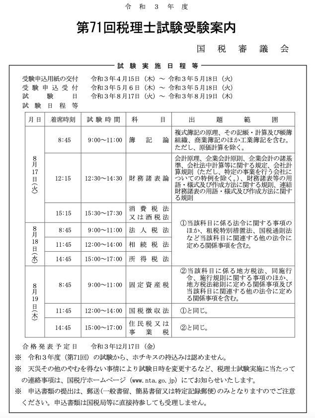2021税理士試験案内