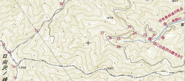 ☆有間川 地図03 日向沢ノ峰