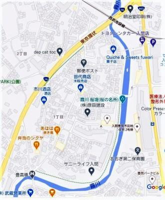 ☆地図 霞川 とんとん橋 新霞橋 豊高橋