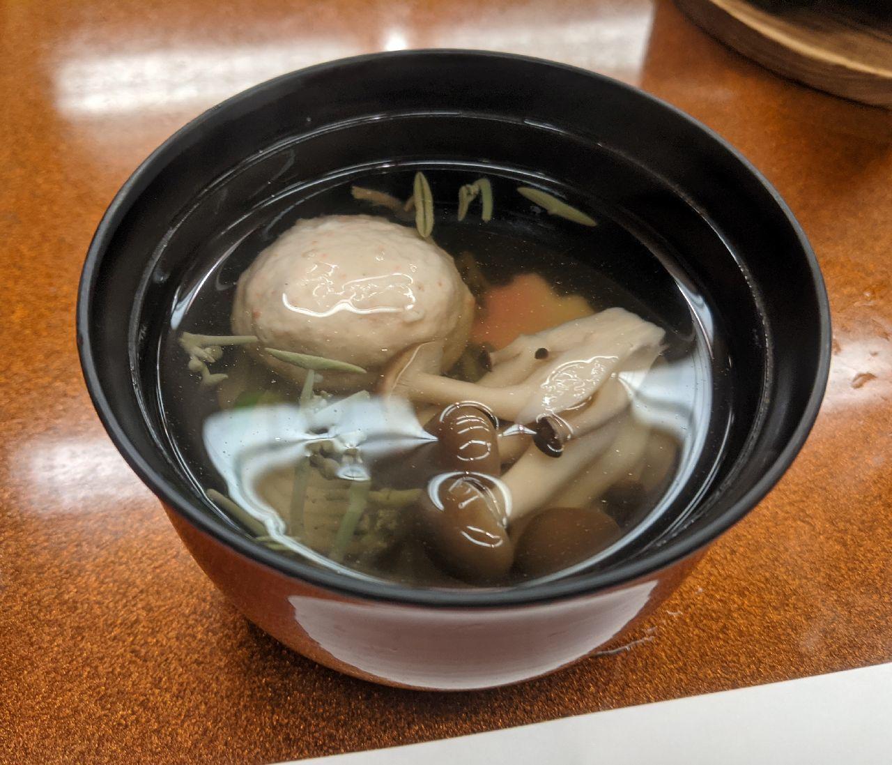 PXL_20210703_101816324清汁仕立椀 蟹真蒸 三つ葉 柚子 梅素麺