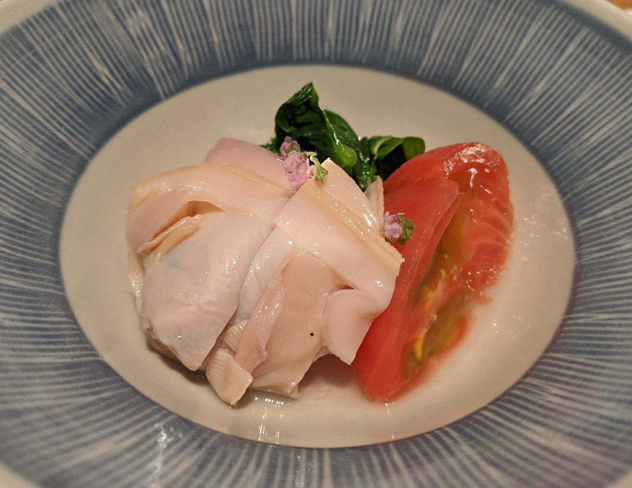 MVIMG_20200711_203343はまぐり、夏野菜炊合せ(フルーツトマト、つるむらさき、ズッキーニ)
