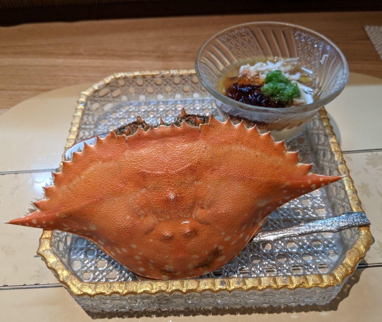 PXL_20210807_105010511胡麻豆腐わたり蟹ビスク、冷やし茶碗蒸し