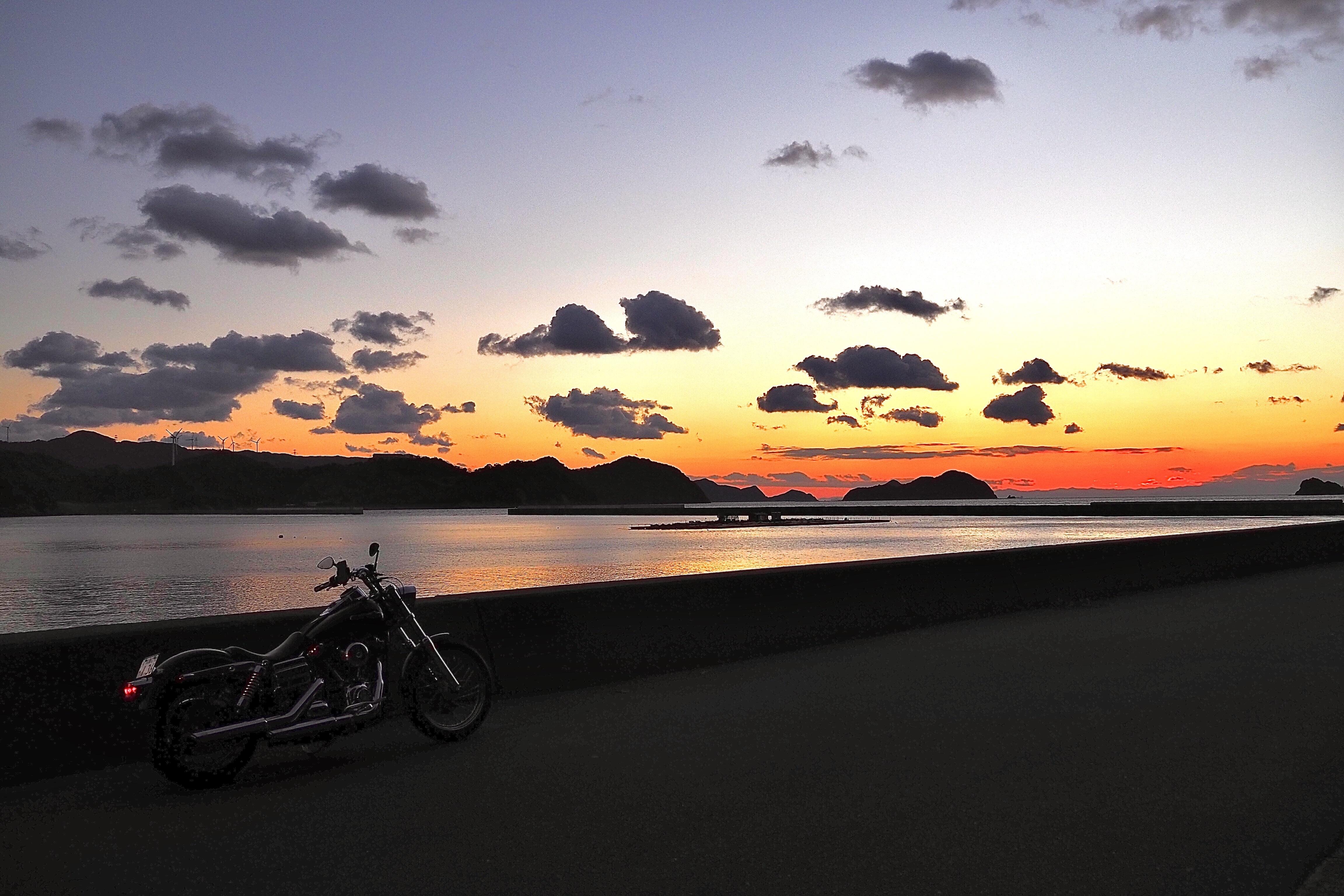 和歌山 湯浅町 湯浅湾 ハーレー 夕焼け サンセット