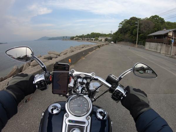 豆島 絶景&グルメツーリング 海沿いの道 瀬戸内海 早朝 上陸