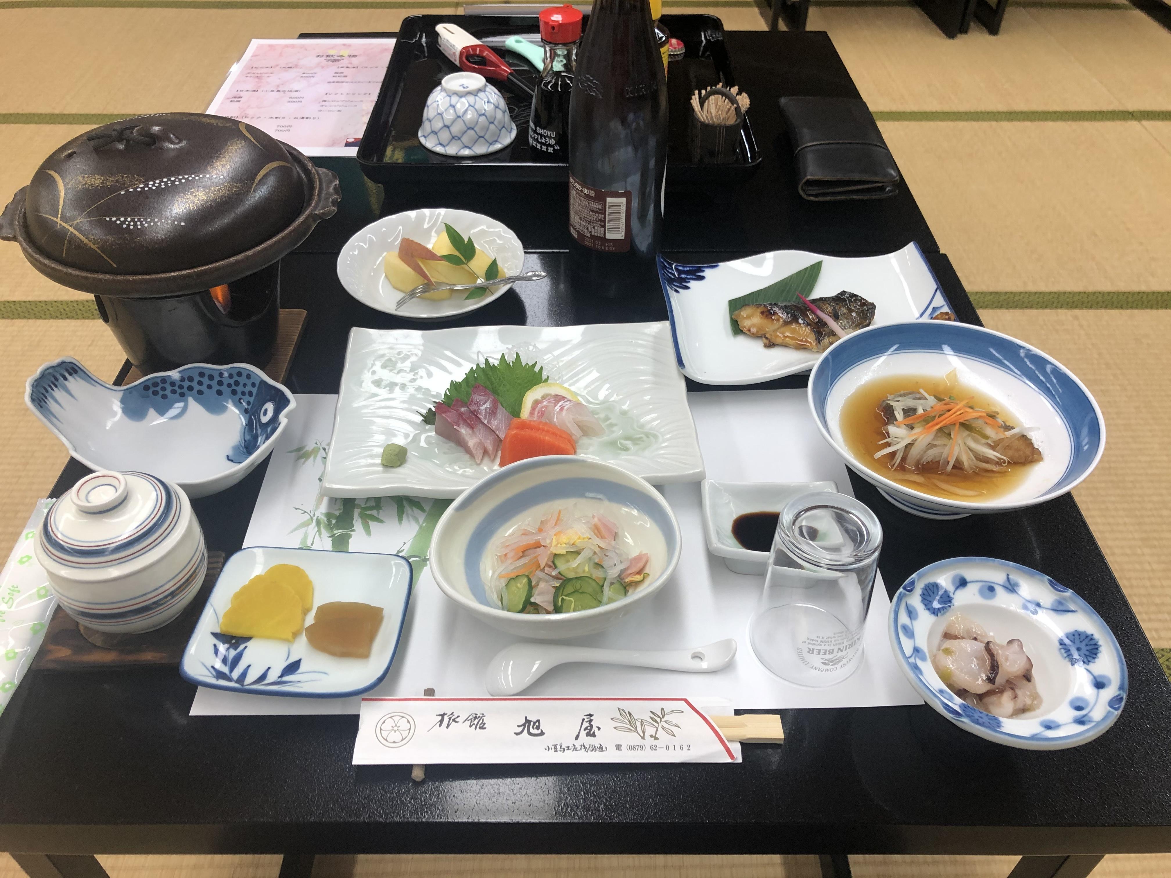 小豆島 絶景&グルメツーリング 旭屋旅館 夕食