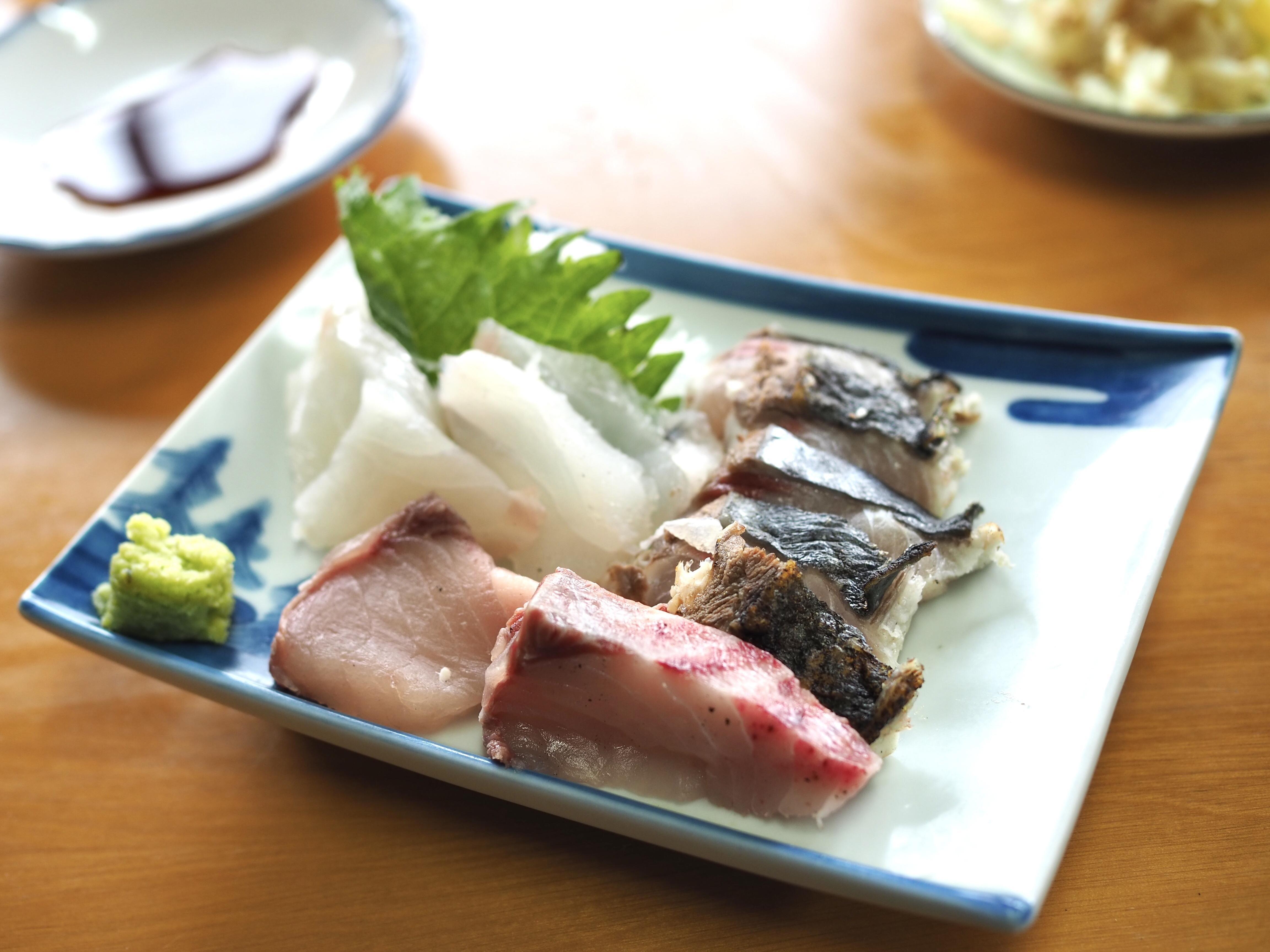 小豆島 絶景&グルメツーリング 木原食堂 お刺身定食 新鮮 お造り 美味