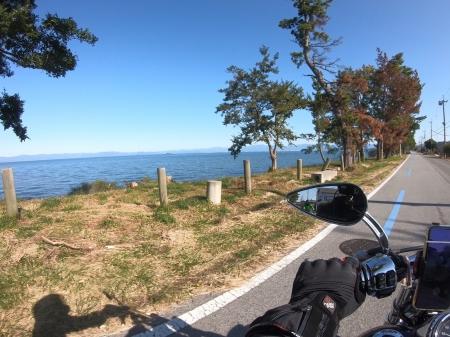 ぴきーちハーレーブログ 奥琵琶湖キャンプツーリング さざなみ街道の景色