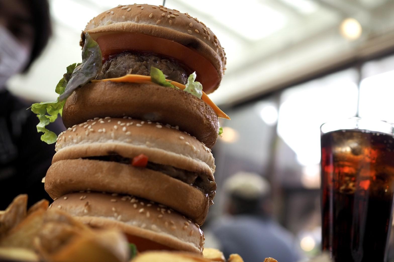 和歌山 有田市 テラスカフェライスフィールド 鬼盛りポテトとクレイジーバーガー デカすぎる! 巨大 そびえ立つ ハンバーガー