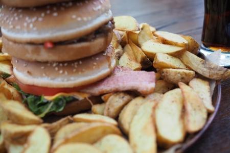 和歌山 有田市 テラスカフェライスフィールド 鬼盛りポテトとクレイジーバーガー デカすぎる! 巨大 そびえ立つ ハンバーガー ポテト美味い