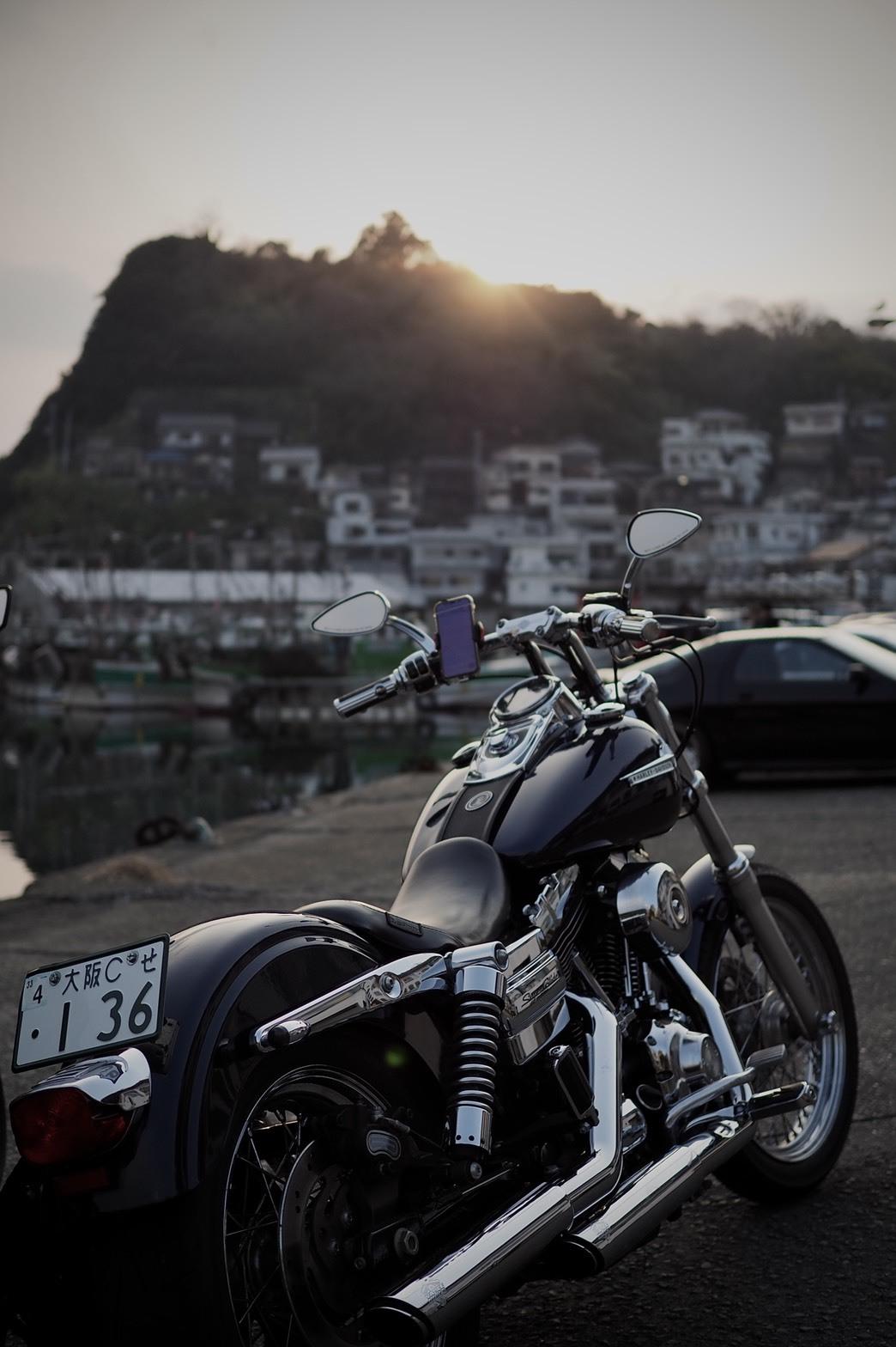 和歌山 雑賀崎 アマルフィ 夕焼け ハーレー バイク 夕陽