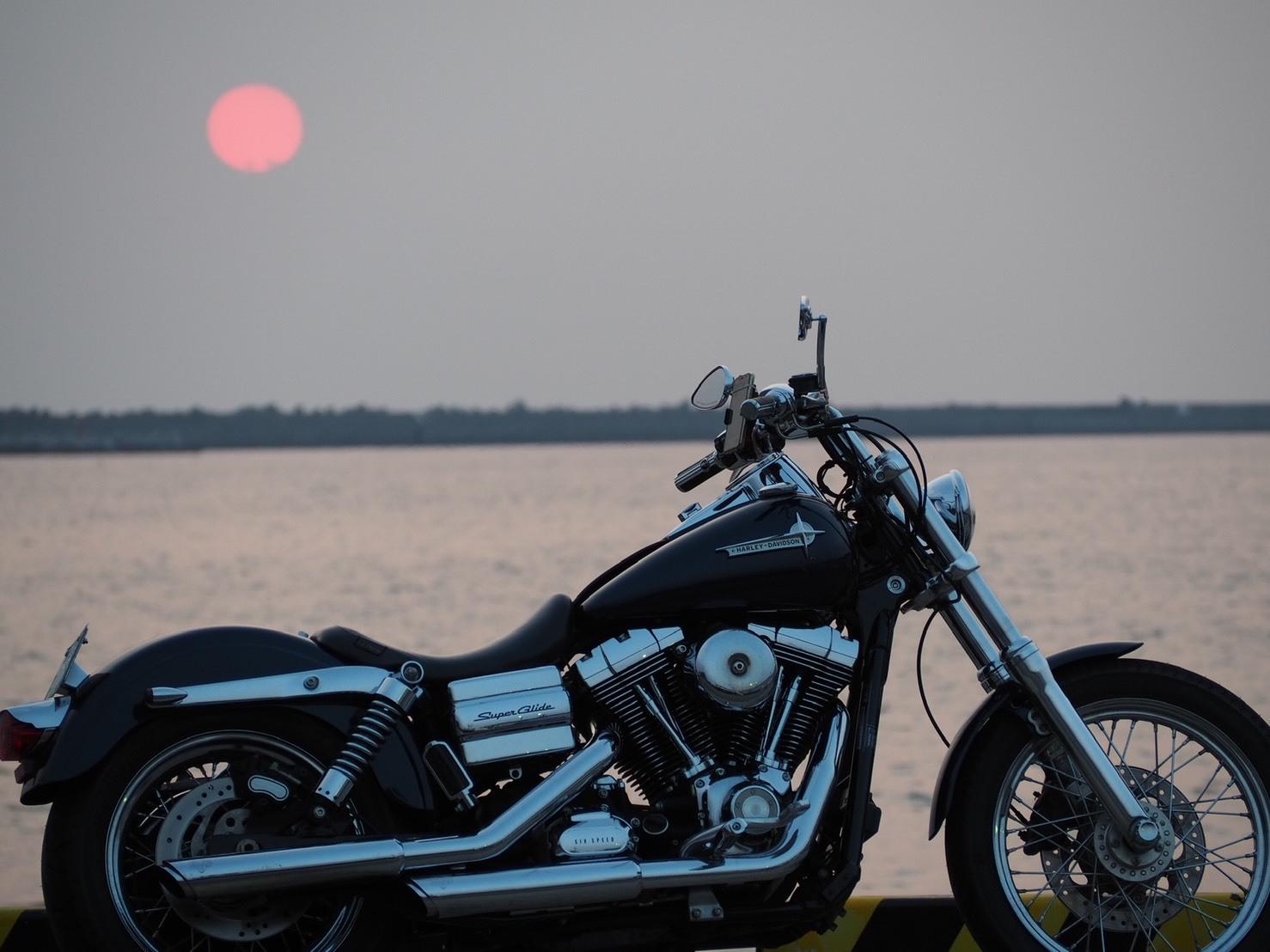 和歌山 夕陽 ハーレー バイク