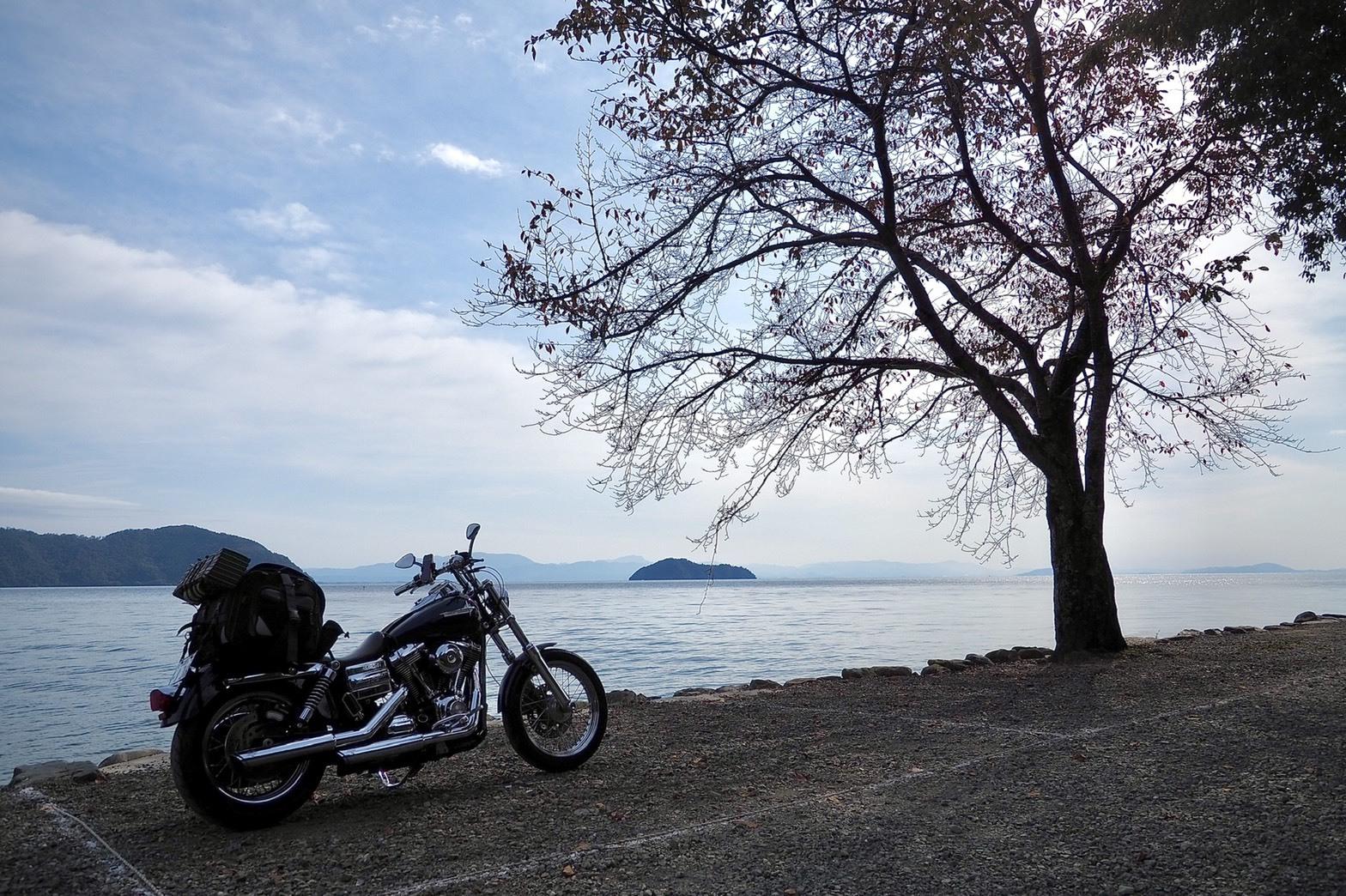 ぴーきちハーレーブログ 滋賀県 奥琵琶湖ツーリング キャンプ 二本松キャンプ場 琵琶湖の畔 撤収