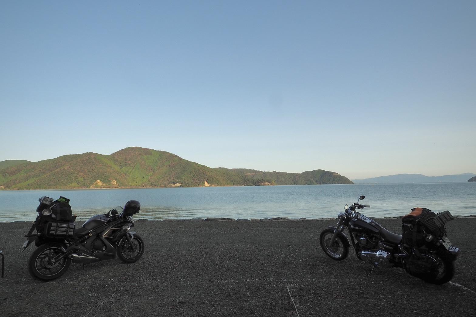 ぴきーちハーレーブログ 奥琵琶湖キャンプツーリング 二本松キャンプ場の景色 長浜