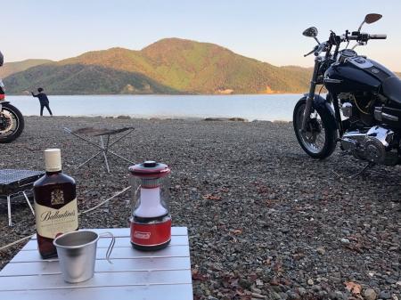 ぴきーちハーレーブログ 奥琵琶湖キャンプツーリング 二本松キャンプ場の景色 長浜 湖北 ウィスキー