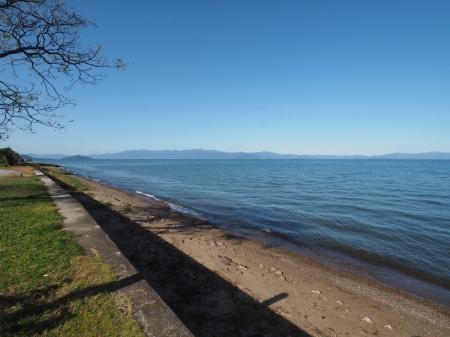 ぴーきちハーレーブログ 奥琵琶湖キャンプツーリング あのベンチからの景色