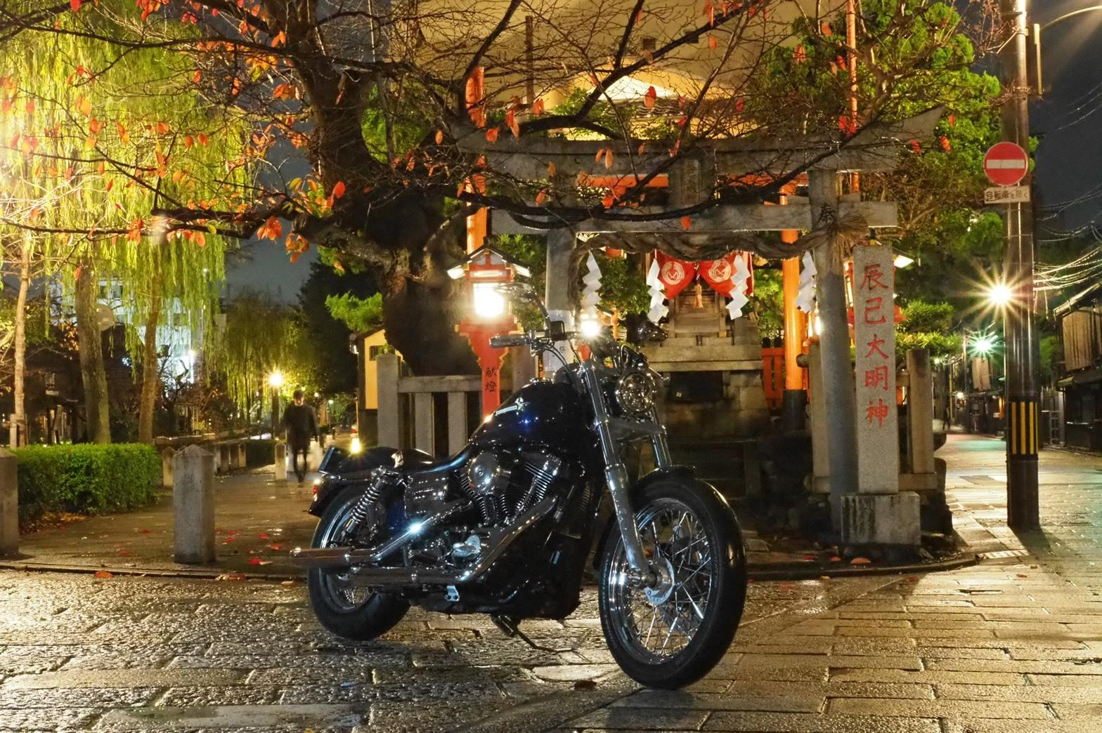 ぴーきちハーレーブログ 京都ナイトツーリング 祇園 雨の京都 夜景