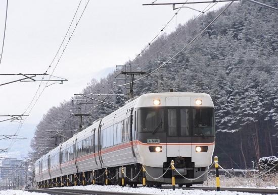 2021年1月17日撮影 1008M 383系 「WVしなの8号」 雪山をバックに
