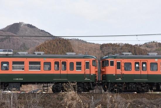 2021年3月7日撮影 しなの鉄道 314M 115系湘南色5両編成 連列面