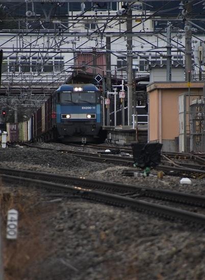 2021年3月6日撮影 東線貨物2083レ EH200-11号機 塩尻駅3番線通過